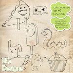 Cute Monster Doodles 3 by: HG Designs