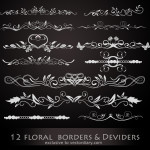 12 Floral Borders and Dividers Vectors
