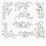 Swirl Floral Decorative Elements Vector