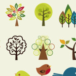Trees and Cute Birdie Bird Vectors