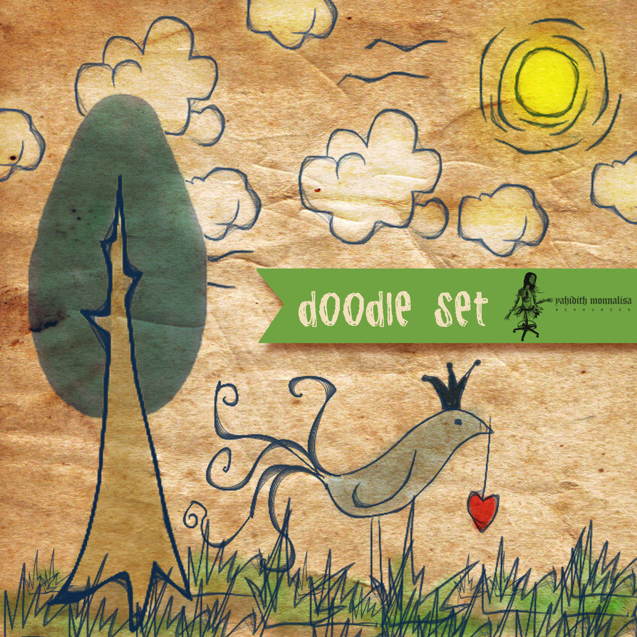 hand_drawn_doodles_cute_bird_trees_clouds_photoshop