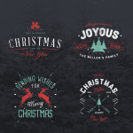 Vintage Style Christmas & Holiday Badges PSD