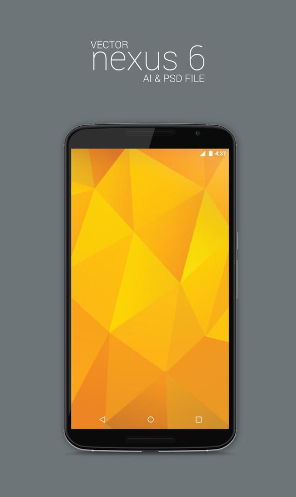 Vector and Photoshop PSD of Nexus 6 Model Display Mockup