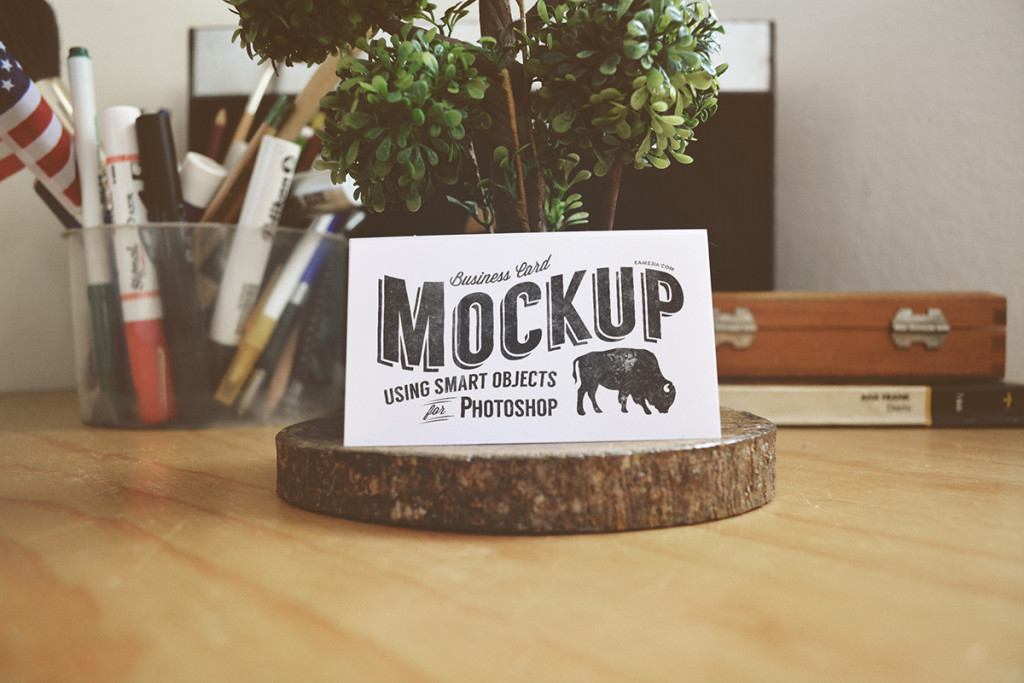 Rustic Worn Business Card Mockup for Photoshop