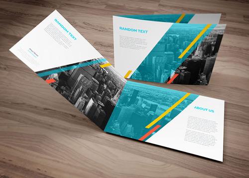 Bi Fold Brochure Design Template in A4 Landscape